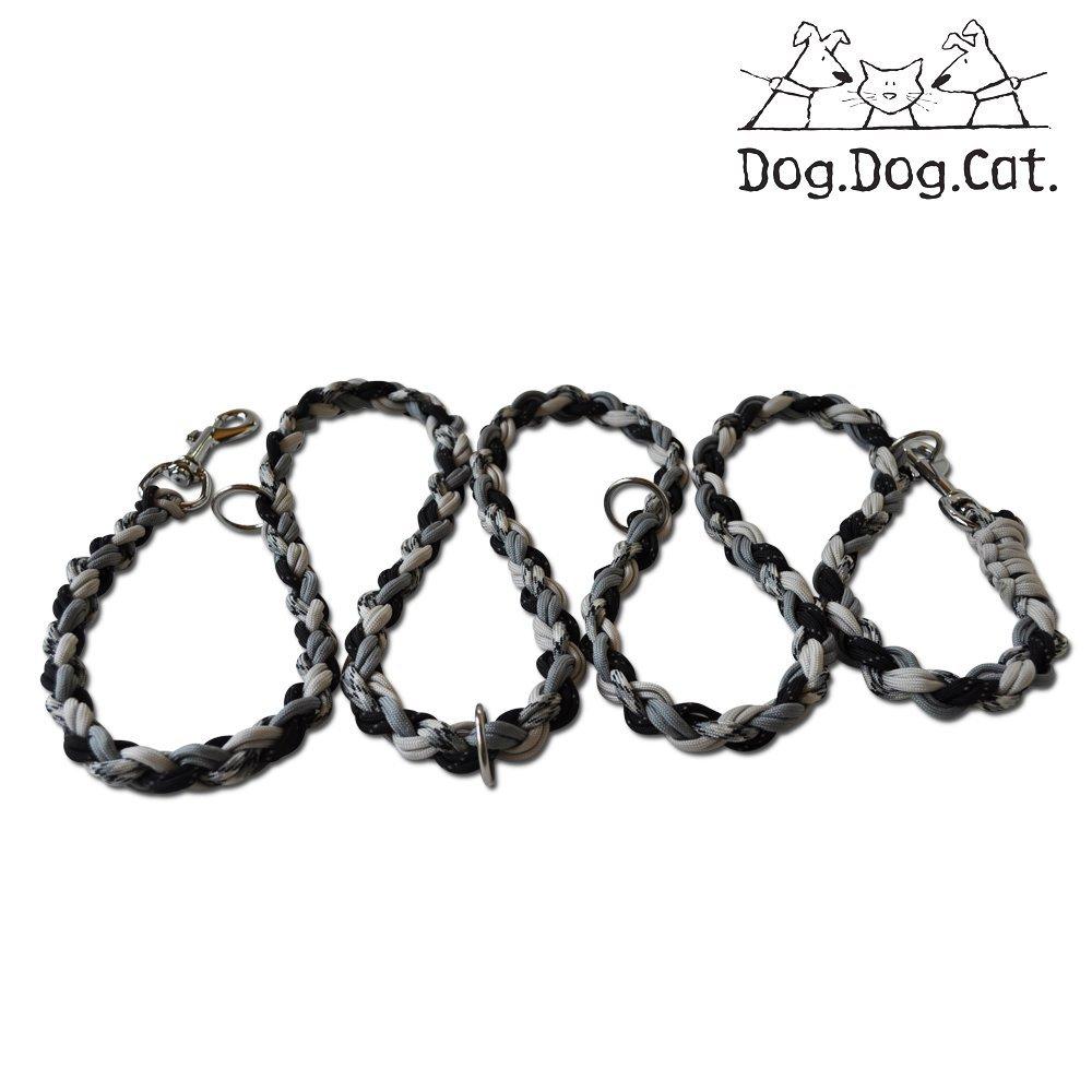 Paracord Double Ended Versatile Hands-Free Dog Walking Training Leash (6 Foot Adjustable, Black/Grey Reflective)