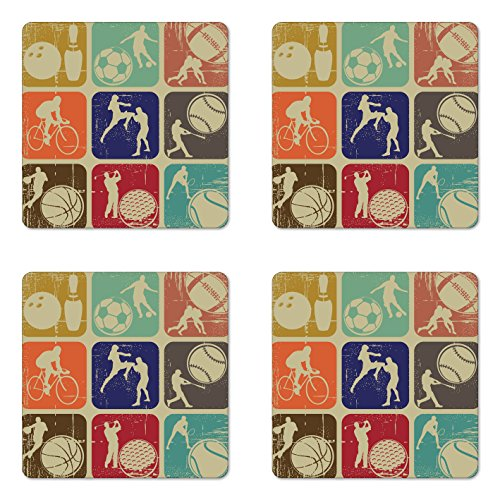 (Ambesonne Sports Coaster Set of Four, Assorted Sports Banners Vintage Grunge Effect Tennis Soccer Bowling Sports Pub Theme, Square Hardboard Gloss Coasters for Drinks, Multicolor)