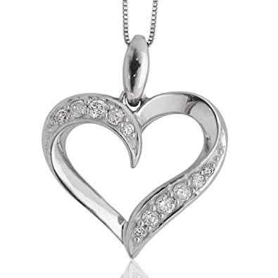 Valentines day white gold heart pendant diamond necklaces page three 10k white gold heart diamond pendant necklace 020 carat heart diamond pendant box chain with spring ring clasp open heart 100 satisfaction guarantee aloadofball Image collections