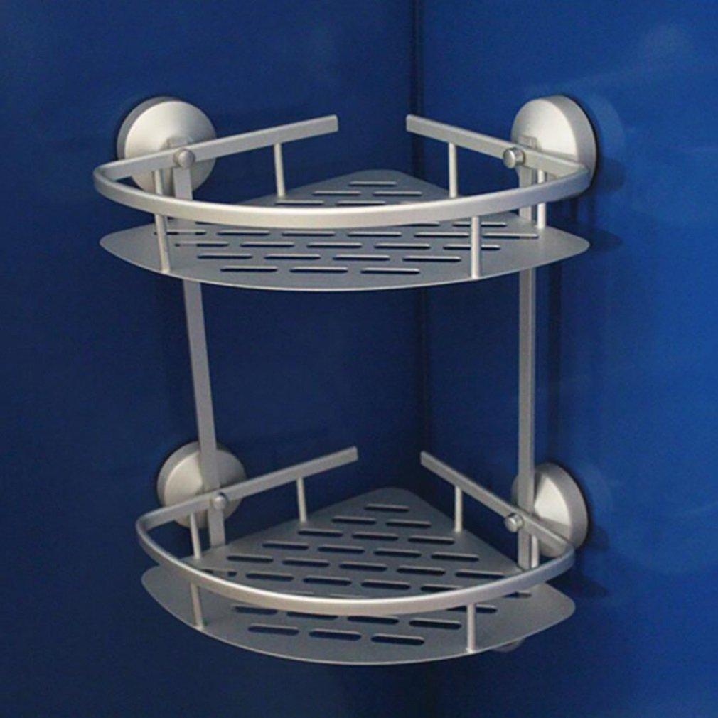FeN Strong Suction Cups Triangular Rack,Aluminum Alloy, Metal Bathroom Storage Basket Shelf,for Office Hotel Wall Mount Shelf Basket Holder