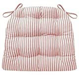 Barnett Products Ticking Stripe Red Dining Chair Pad with Ties - Size Standard - Latex Foam Fill - Made in USA