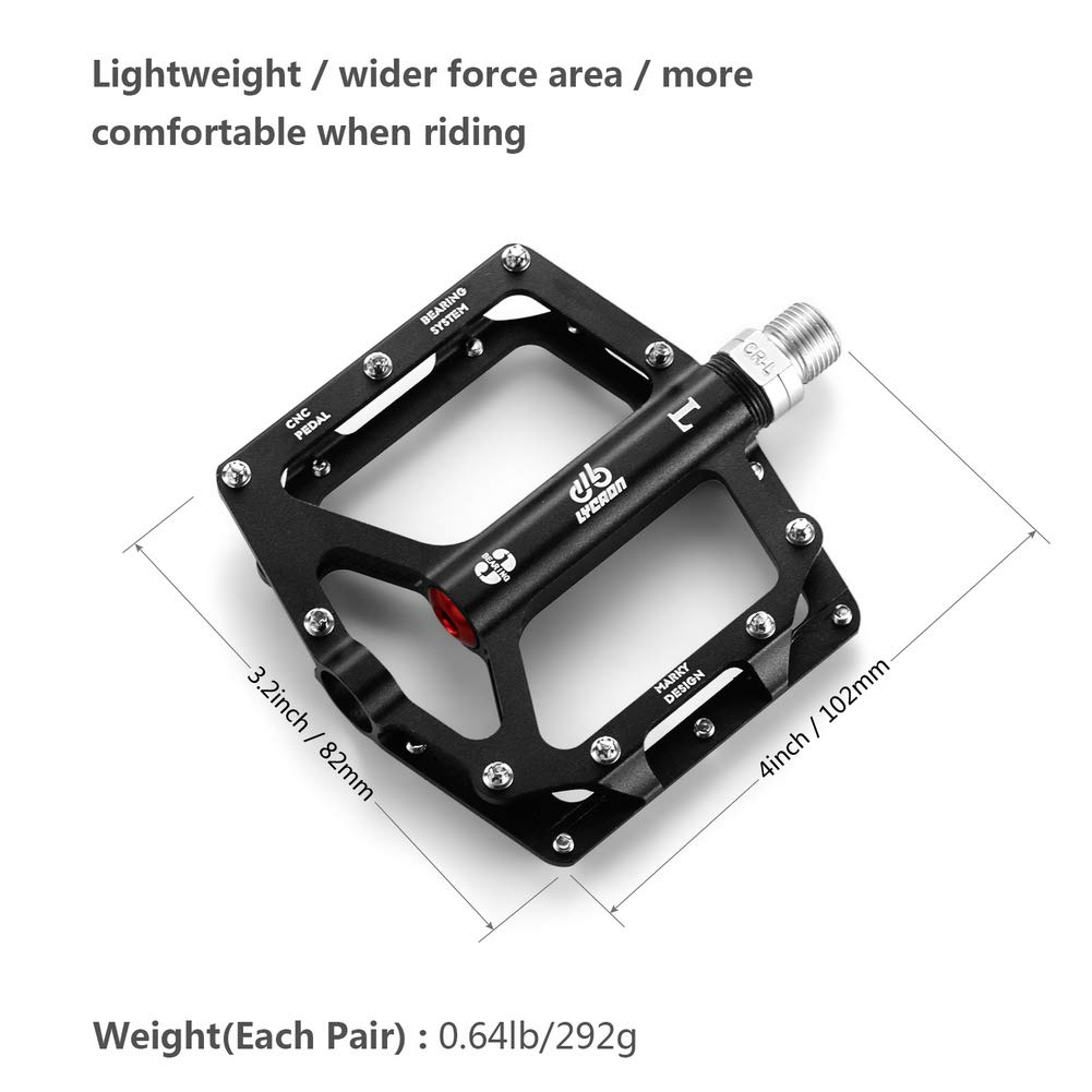 Cycling Pedal for 9//16 Road Mountain BMX MTB Bike LYCAON Bike Bicycle Pedals Lightweight Non-Slip