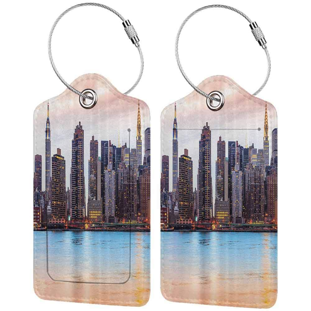 Flexible luggage tag New York Manhattan Skyline Midtown View from the Lake USA American City Artsy Picture Fashion match Peach Blue Mauve W2.7 x L4.6