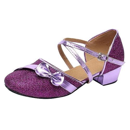2a7c4a9ff Zapatos de Tango Latino para Niños Vestir Fiesta Arco Princesa Sandalias  Arco Lentejuelas Zapatitos de Tacón Bebé Niña Primavera Verano Zapatillas  de Baile ...