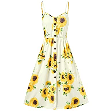 71c47922bf96 Womens Dresses Summer Casual Floral Spaghetti Strap Button Up Midi Dress  with Pockets Sunflower Printed Camis