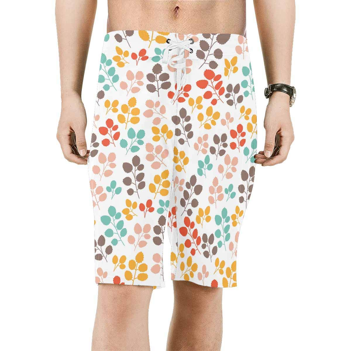 INTERESTPRINT Mens Beach Shorts Colorful Leaves Quick Dry Swim Trunks XS-6XL
