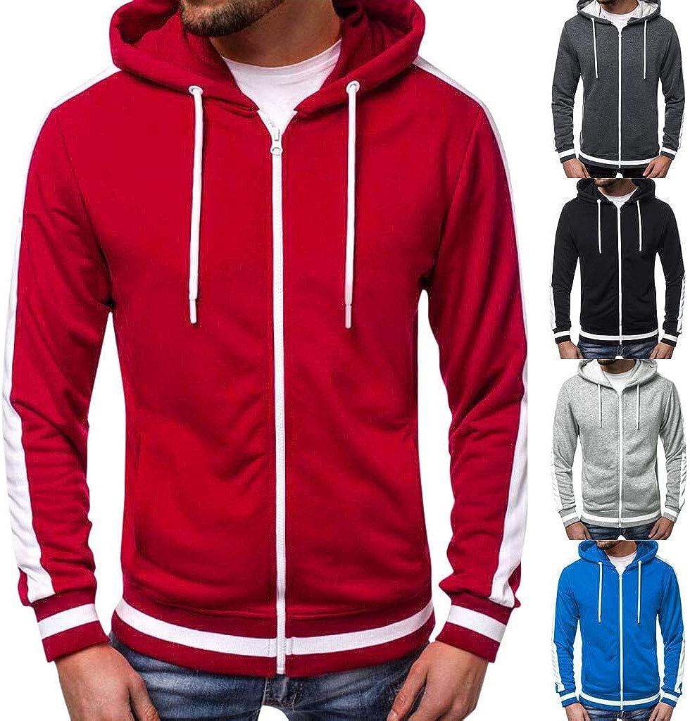 Beautyfine Men Hooded Sweatshirt Autumn Winter Hoodie Top Long Sleeve Patchwork Tee Outwear Blouse