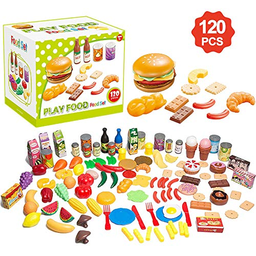 Lantch Play Food Toy Kitchen Accessories Set for Kids- 120 Piece Educational Pretend Play, Food Playset Toys for Girls and Boys