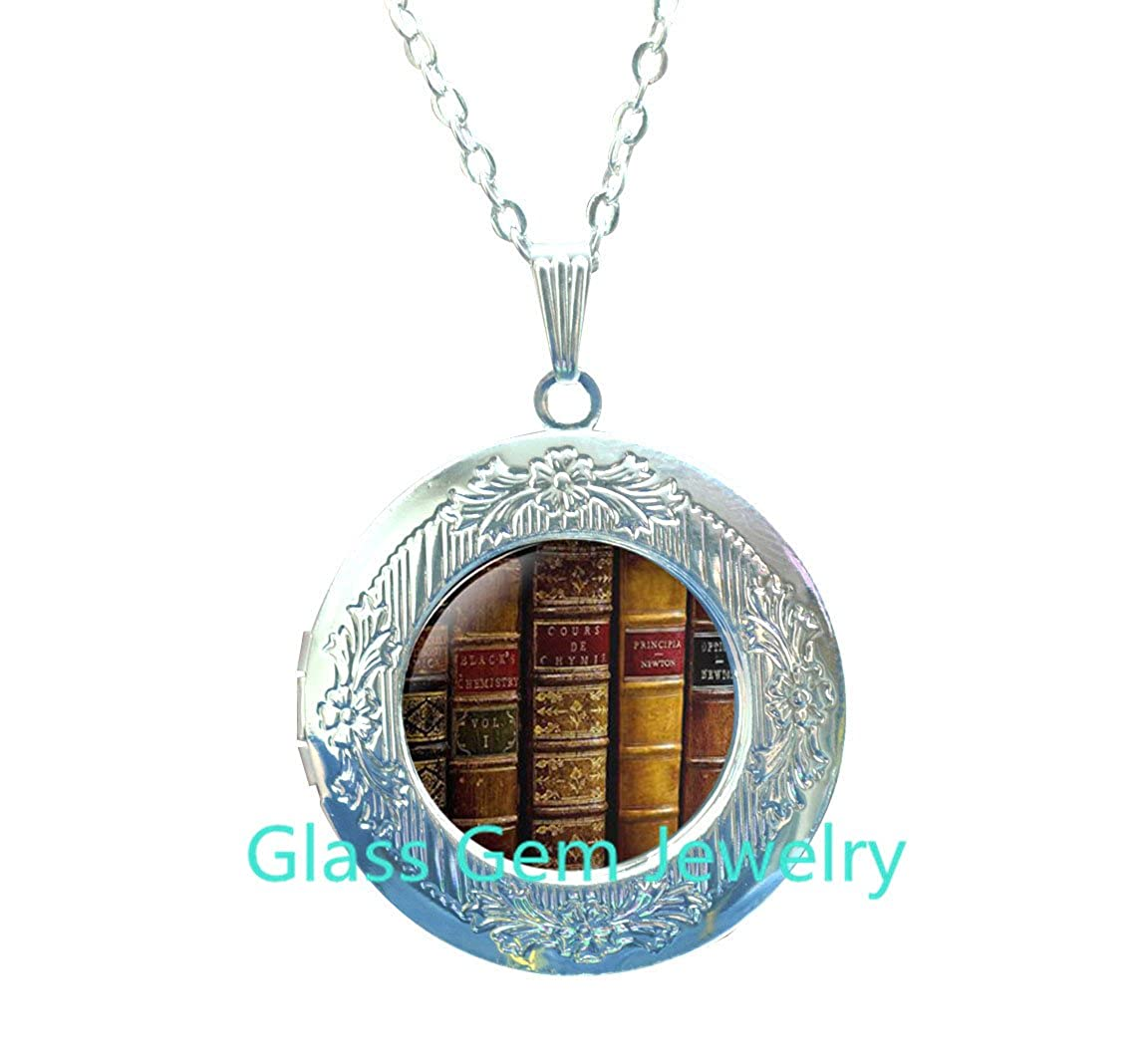 Book Lover Locket Necklace Literary Jewelry Librarian Locket Pendant Book Locket Necklace Book Jewelry Library Book,Q0199 Gift For Writer Bibliophile