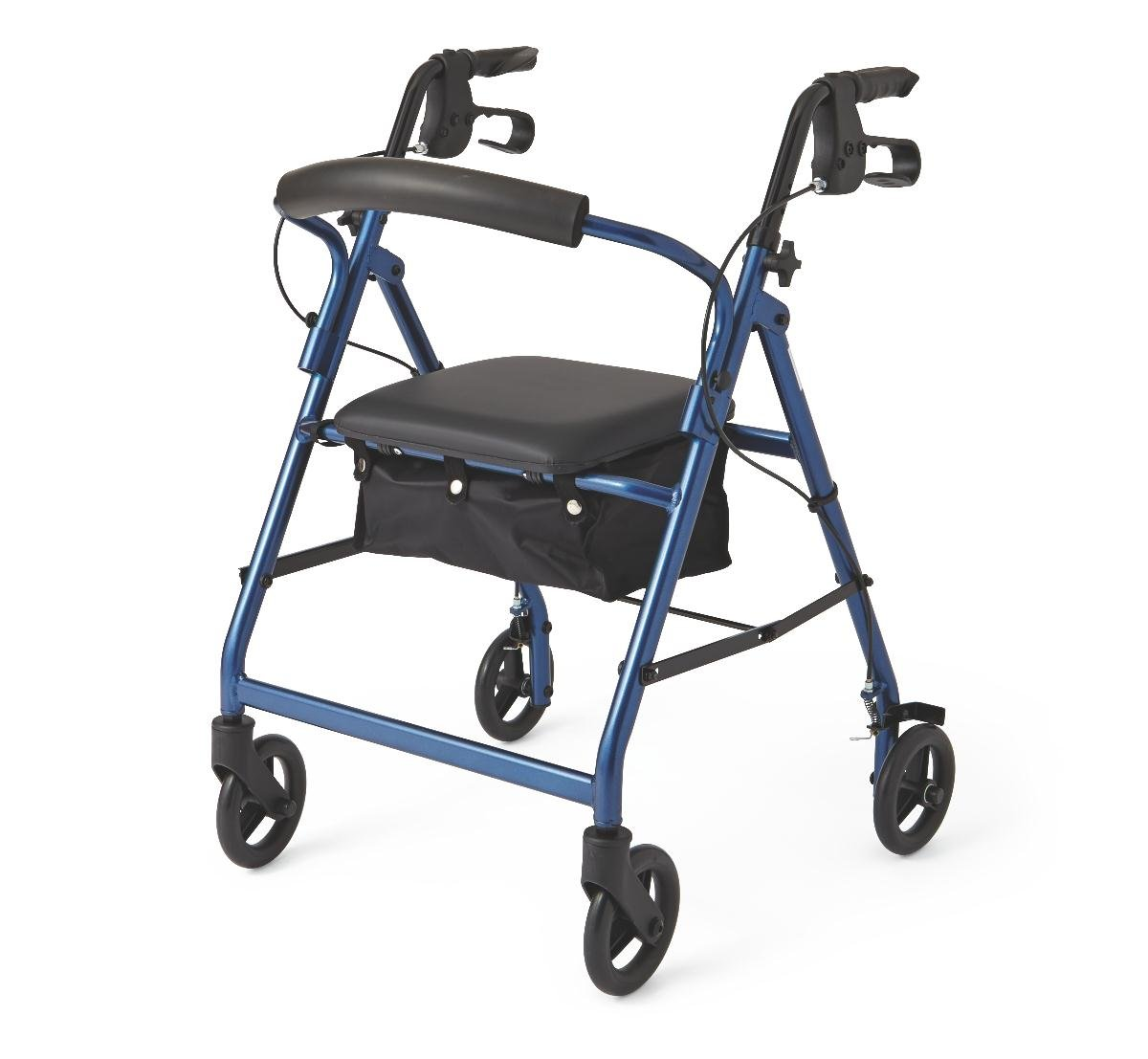 Medline Durable Aluminum Fold Up Mobility Rollator Walker with 6 Inch Wheels and Seat for Adults, Blue