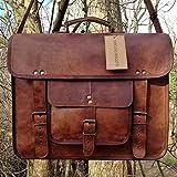 Gbag (T) Vintage Leather Laptop Bag 15'' Messenger Briefcase Crossbody Shoulder Satchel Bag