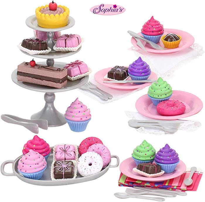 Sophia's Doll Food Treats for 18 inch Dolls Playset Accessories Include a Complete Dessert Set with Miniature Cupcakes, Donuts, Petit Fours, Plats, Utensils and More