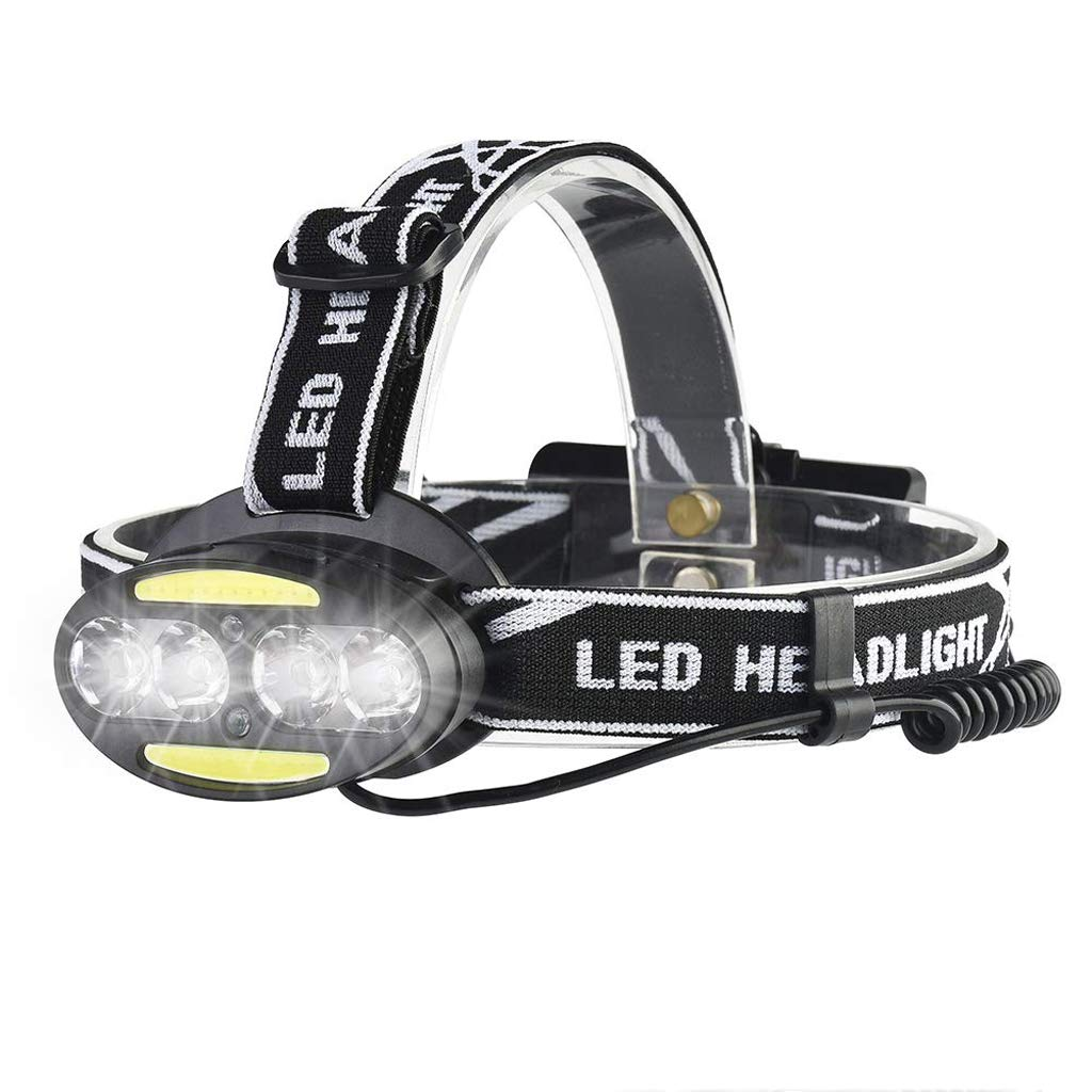 KLSHW 4 LED Headlights 5 Modes Headlights Waterproof Suitable for Camping, Hiking USB Rechargeable Headlights