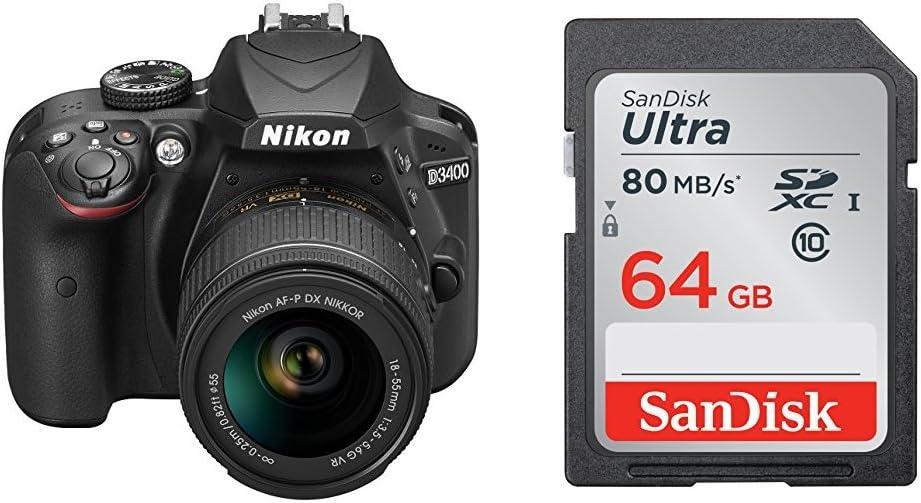 Nikon D3400 + SDXC de 64 GB - [Versión española con acceso a ...