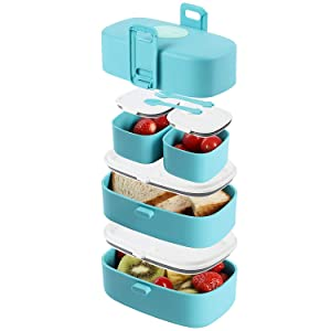 Leak-Proof, BPA-Free Stacking Bento Box Lunch Box with 4 Microwave-Safe, Sealed Compartments for Kids and Adults by Wagindd