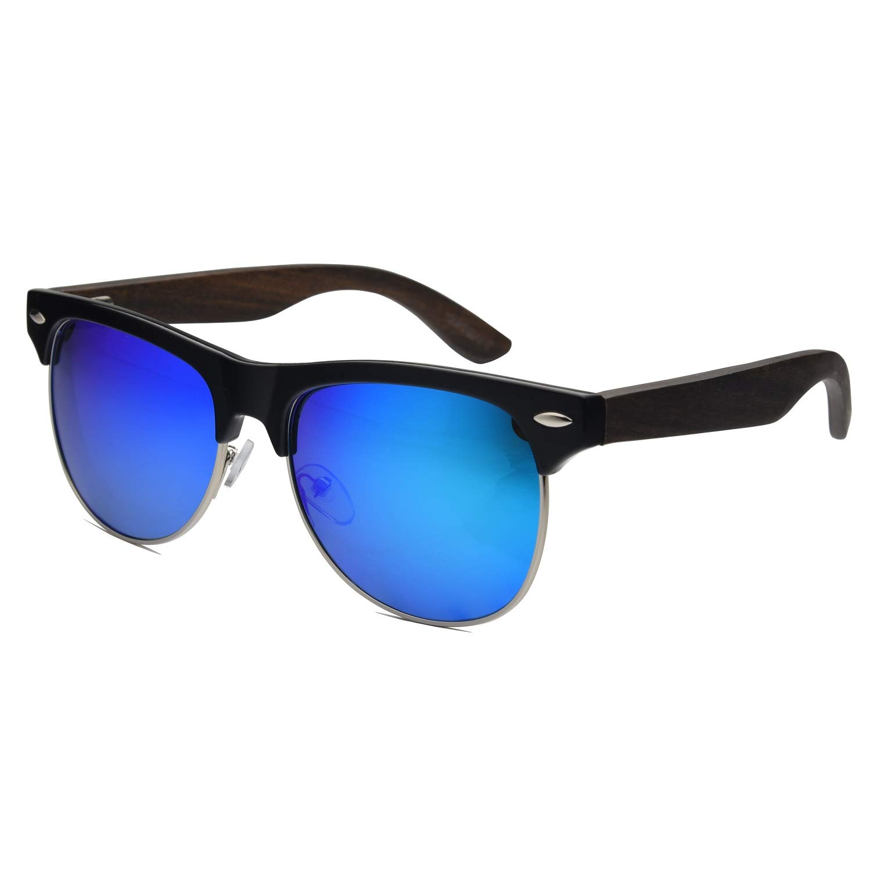 Ablibi Bamboo Wooden Sunglasses,Handmade Semi-Rimless Wood Sunglasses for Women Men