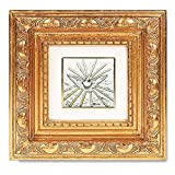 The Holy Spirit Dove Silver Plated Image in Gold Leaf Resin Frame, 5 1/2 Inch