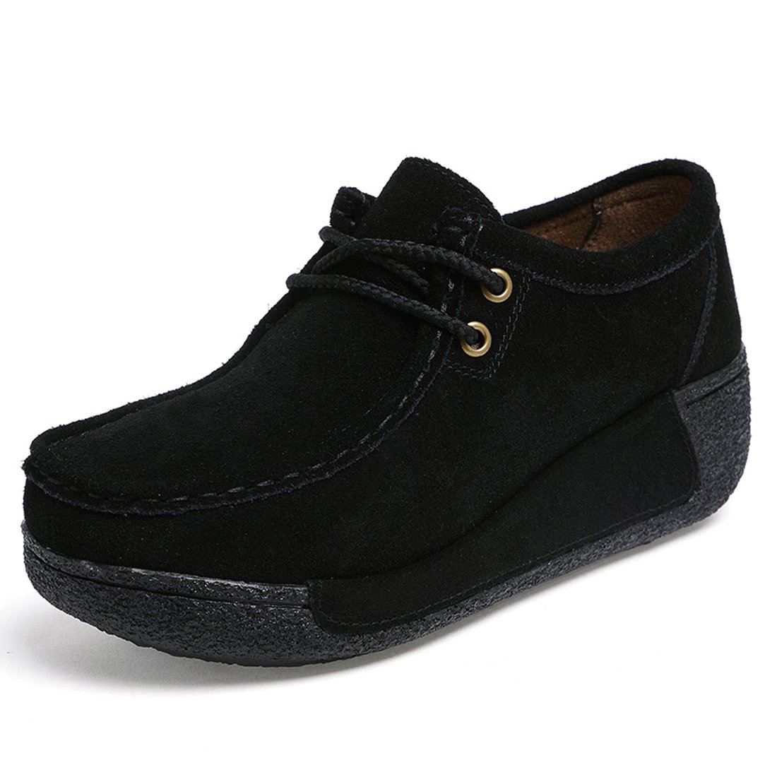 Z.SUO Women Platform Loafers Comfort Suede Moccasins Lace up Low Top Wedge Driving Shoes (5.5 US, Black)