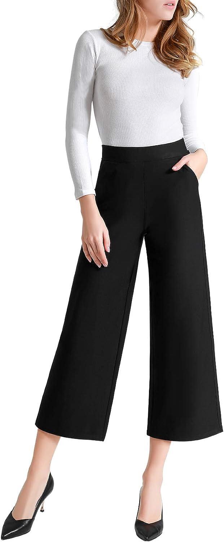 Tsful High Waist Wide Leg Pants for Women Summer Business Casual Crop Dress Pants Stretch Pull On Capris