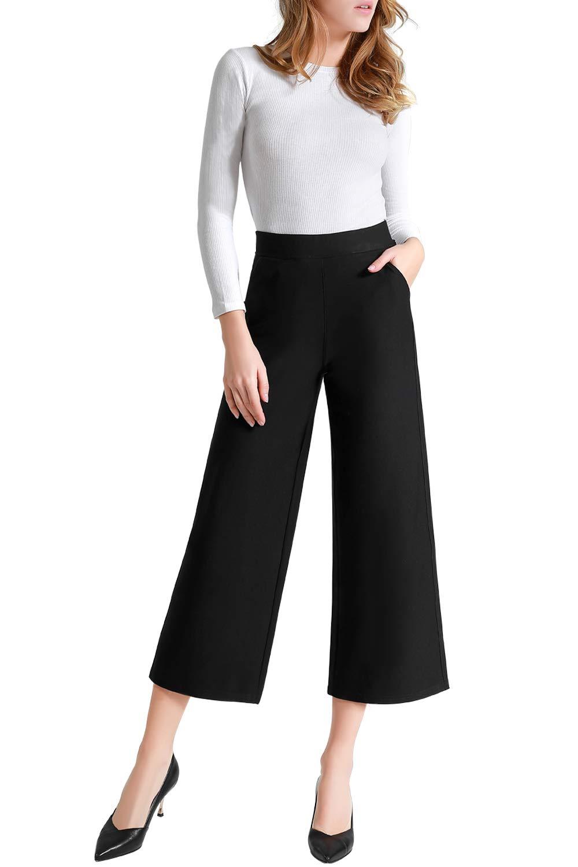 Tsful Women's Casual Loose Wide Leg Pants Pull On Dress Pant
