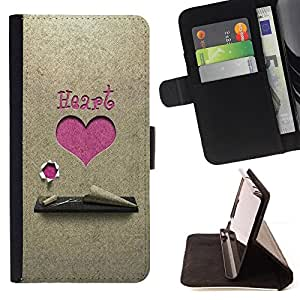 DEVIL CASE - FOR Samsung Galaxy S4 Mini i9190 - Love Pink Heart - Style PU Leather Case Wallet Flip Stand Flap Closure Cover