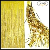 Foil Gold Fringe Curtain Backdrop - 2 Pack (3.3ft x 8 ft) Metallic Tinsel Shinny curtain Hanging Backdrops For Christmas Birthday,Weddings Bachelorette Party Decorations