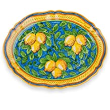 Hand Painted Limone Fluted Platter From Italy