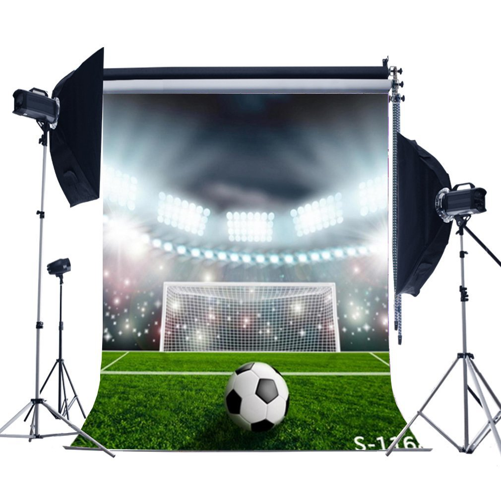 Laeacco Customizable 5x6.5ft Thin Vinyl Photography Backdrop for Baby and Kids Soccer Football Ground Scene 1.5*2m Computer-Print Seamless Photo Background Studio Props