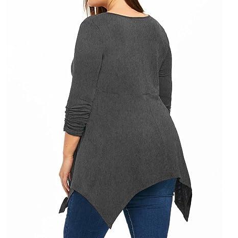 Camisetas Desigual Mujer Tallas Grandes L~5XL, LILICAT® Camiseta de Tirantes Manga Larga con Cremallera + Encaje para Mujer 2018 Moda Primavera Otoño Blusas ...