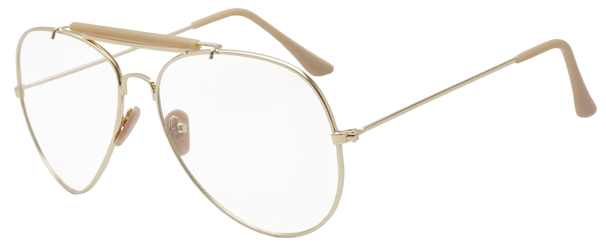 SunglassUP Oversize Round Double Bar Clear Lens Metal Aviator Plastic Cross Bar Glasses (Gold (Sun Sensor), 60) by Sunglass Stop Shop