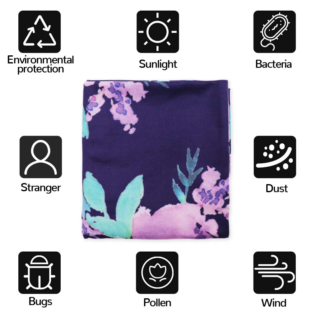 Stretchy Baby Carseat Cover with 4-in-1 Multi-use for Baby Carseat /& Nursing//Versatile Breastfeeding Scarf /& Stroller /& Feeding high Chair Cover for Baby Girls by TIANNUOFA Violet flower