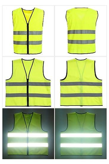 Colore: Giallo Fluorescente Ciclismo con Cerniera Motociclismo Jogging per Sport Giubbotto di Sicurezza ad Alta visibilit/à Lantra Besa AR0011