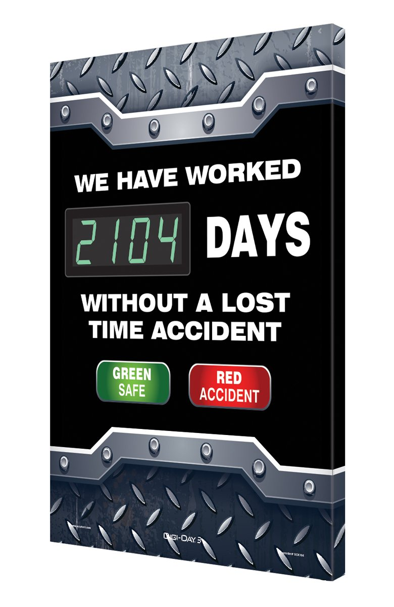Accuform Digi-Day 3 Electronic Safety Scoreboard,''WE HAVE WORKED #### DAYS WITHOUT A LOST TIME ACCIDENT - GREEN SAFE/RED ACCIDENT'' (SCK104)