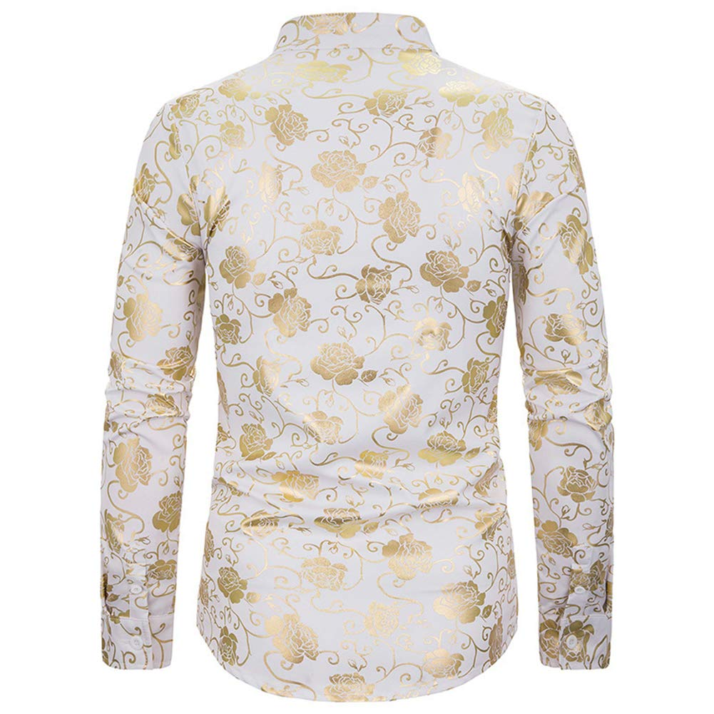 OLUOLIN Mens Hipster Gold Rose Printed Shirts Slim Fit Long Sleeve Button Down Dress Shirts Prom Performing Shirts