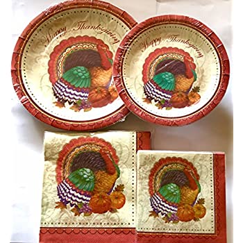 Thanksgiving Disposable Dinnerware Set for Your Holiday Party - Turkey Fall Harvest - Dinner Plates Dessert Plates Cups u0026 Napkins (Serves 12)  sc 1 st  Amazon.com & Amazon.com: Thanksgiving Disposable Dinnerware Set for Your Holiday ...