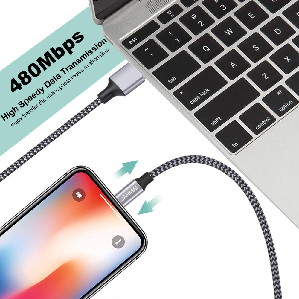 iPhone Charger JAHMAI Fast Charging Nylon Braided USB Cable 3Pack 6feet High Speed Data Sync Cord Phone Power Connector Compatible with iPhone XS MAX//XR//XS//X//8//7//Plus//6S//6//SE//5S//5C//iPad//Mini//Air//Pro