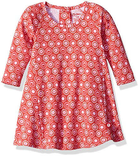 Zutano Baby Girls' Raglan Trapeze Dress, Apple Basket, 12 Months