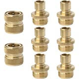 PLG Solid Brass Garden Hose Quick Connect Fittings,2 Female + 6 Male