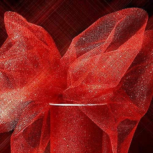 Shimmer, Sparkle, Glimmer, Metallic and Polka Dot Tulle Ribbon Rolls - 25 Yards - 6 Inches Wide (SPARKLING - Red)