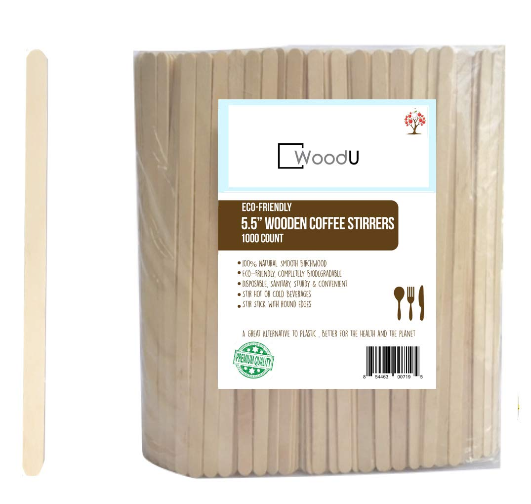 """Wood Coffee Beverage Stirrers, Coffee Stir Sticks 5.5"""" (1000 Count) Eco-Friendly Completely Biodegradable, Coffee Stirrers For Hot & Cold Beverages as Coffee & Tea, Alternative to Plastic Stirrers by WoodU (Image #1)"""