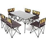 折り畳み テーブル チェア 6脚セット ピクニックテーブル アルミテーブル 組立簡単 軽量 持ち運び便利 背もたれ付き 収納袋付き キャンプ アウトドア