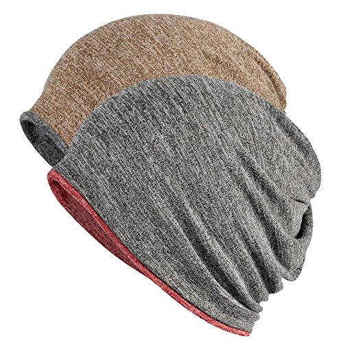 (FORTREE 2 Pack Multifunction Slouchy Beanie for Jogging, Cycling (1+4))