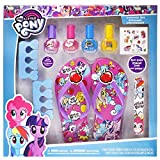 My Little Pony Baby Spa Set, Kids Washable Polish, Nail Buffer, Nail File, Sandals Size (10-11) and Toe Separators, 10 Piece Set