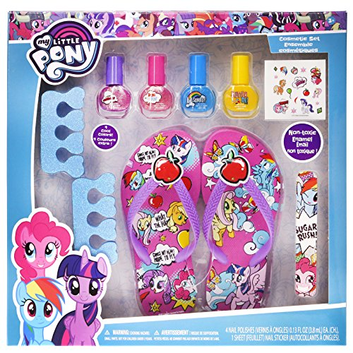 My Little Pony Baby Spa Set, Kids Washable Polish, Nail Buffer, Nail File, Sandals Size (10-11) and Toe Separators, 10 Piece Set -