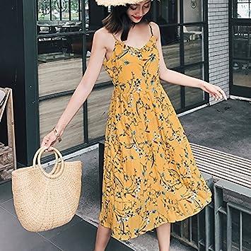 Mayihang vestido Yellow Beach Falda Larga Falda Floral Vestido ...