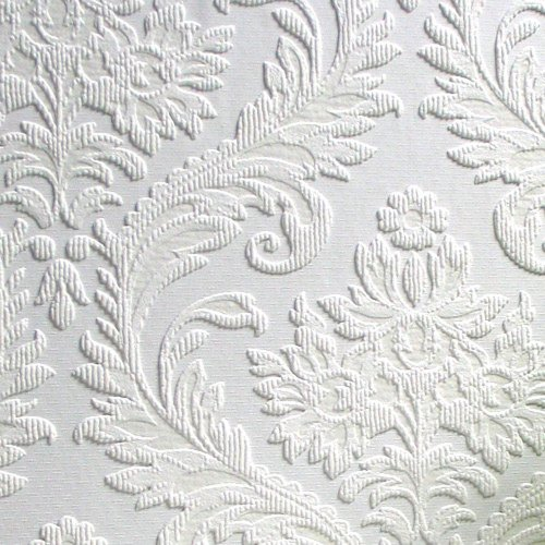 Brewster RD80027 Anaglypta Paintable Large Traditional Damask Wallpaper,  21 Inch By 396 Inch, White