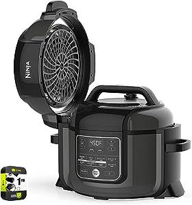 Ninja OP350 Foodi 9-in-1 Multi-Cooker Pressure Cooker and Air Fryer 6.5 Qt (Renewed) Bundle with 1 Year Protection Plan