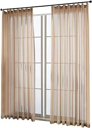 1er de Pack – Cortina con fruncido cortinas permeable Luz Voile Cortina, hell kaffee, BxH 140x245cm: Amazon.es: Hogar