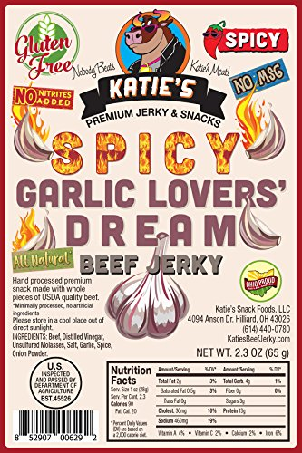 Spicy Garlic Lovers' Dream Beef Jerky-GLUTEN FREE - No Preservatives, Nitrites, or MSG