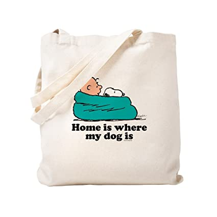 77647b695af CafePress - Charlie Brown: Home Is Where My Dog Is - Natural Canvas Tote  Bag, Cloth Shopping Bag